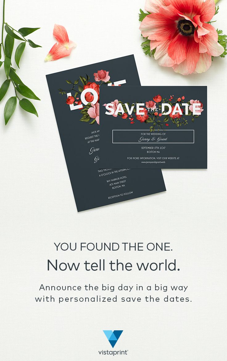 Make sure guests mark their calendars and get excited for your wedding with save the dates from Vistaprint. No matter how picky, Vistaprint has the save the date stationery that every couple will love. Choose from a variety of colors, sizes and styles with Vistaprint's selection of designs. Discover hundreds of unique save the dates that you can personalize with every single detail and save 25% off Vistaprint today.