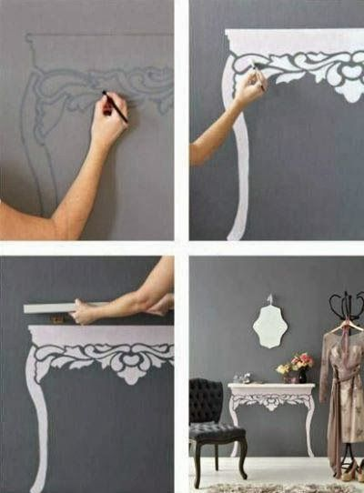 DIY- Stencil and Paint a Table Façade | No room for a table PAINT one. | Needs translation