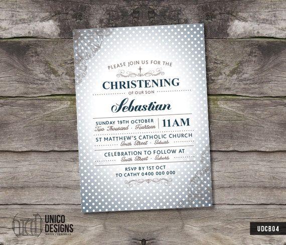Blue Polka Dot Christening Invitation / by UnicoDesignsInvites