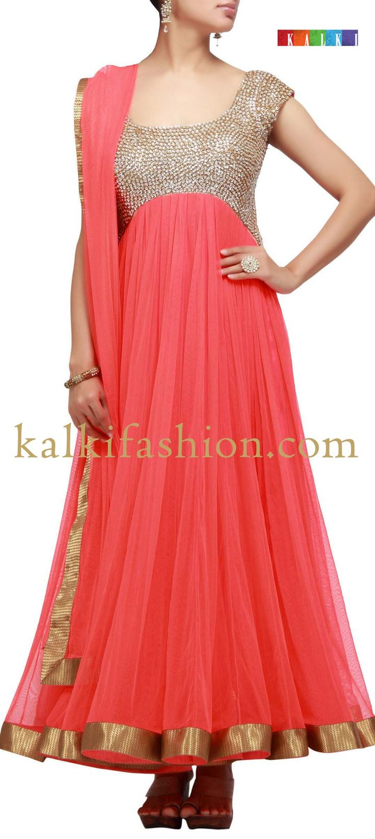 Orange anarkali. Indian fashion.