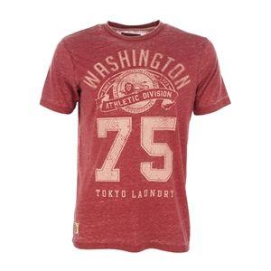 Tokyo Laundry Men's 'Washington 75' Vintage Style Print Crew Neck Burn Out T-Shirt (Red)