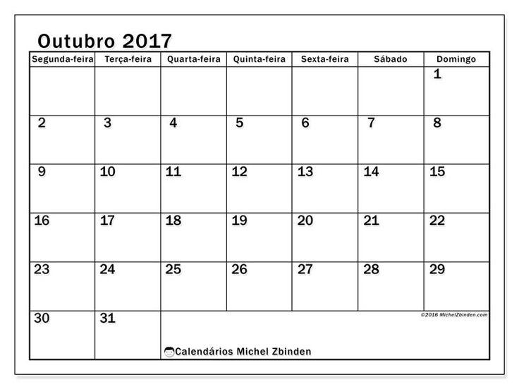 outubro 2017para imprimir, livre. Calendário mensal : Tiberius (Sf). A semana começa na segunda-feira