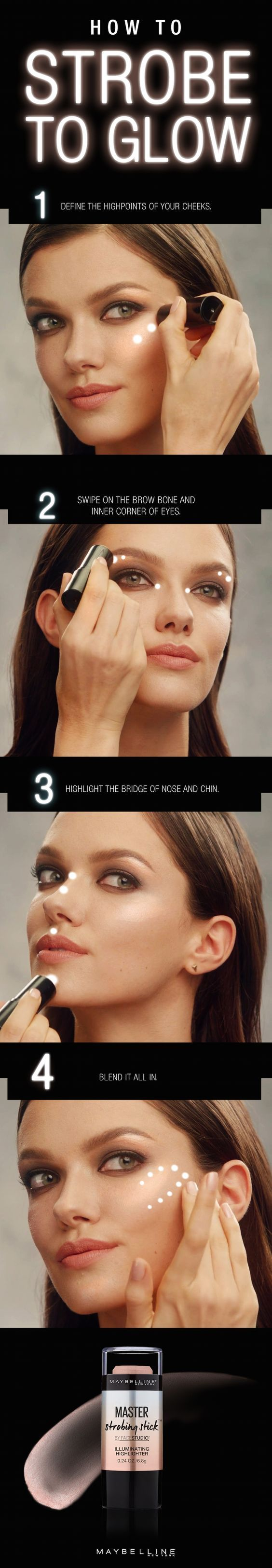 The perfect base for any Valentine's Day makeup look is gorgeous, glowing skin.  To achieve the perfect fresh faced look, use Maybelline Master Strobing Stick.  First, define the high points of your cheeks.  Swipe on the brow bone and inner corners or eyes.  Highlight eh bridge of the nose and chin.  Then, use your finger and tap to blend it all in.  Now you're ready to strobe to glow!