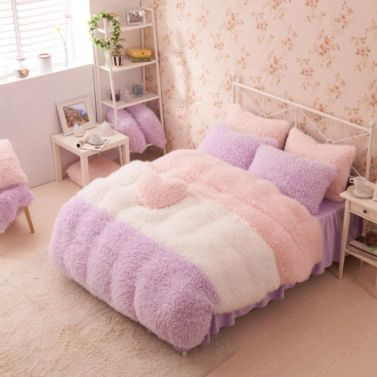 Purple Pink White Girls Cashmere Wool Velvet Ruffle Duvet Cover Bedding Sets | Home & Garden, Bedding, Bed-in-a-Bag | eBay!