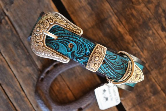 "Leather Dog Collar 1.5"" inch (Western Dog Collar,personalized leather dog collar,Boho dog collar,turquoise dog collar)The Diamond Dogs"