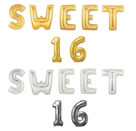 """16"""" or 40"""" SWEET 16 Giant Gold Silver Foil Letter Helium Floated Balloons Large Mylar Banner 16th Bi - #balloons #floated #giant #helium #le"""