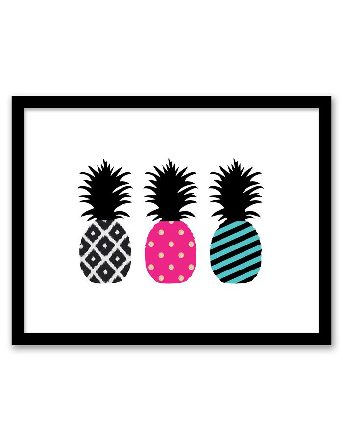Pineapple Wall Art (free printable!) Something like this to tie in pink/black/gold/white/teal!!!!