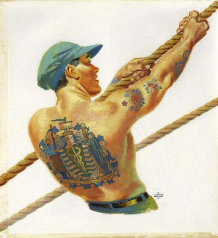 Tattooed man pulling on rope by Clixby Watson (Photo via Vancouver Archives)