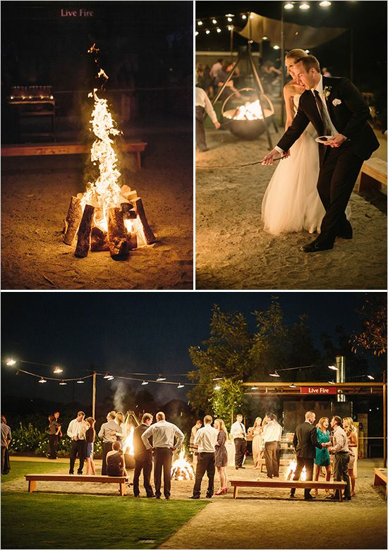 wedding camp fire #napawedding #destinationwedding #weddingchicks http://www.weddingchicks.com/2014/01/02/gold-and-white-wedding/