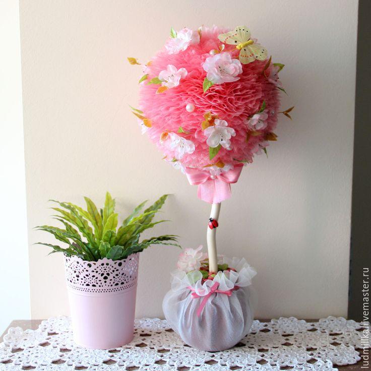 """Купить Топиарий """"Яблоневый цвет"""", дерево счастья. - топиарий, топиарий дерево счастья, европейское дерево"""