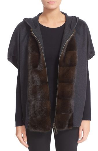 Fabiana Filippi Hooded Cashmere Flannel Cape with Genuine Mink Fur Trim