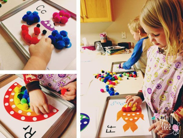 Fab N Free- Free Alphabet Pom-PomMagnet Printable - Quiet Time Entertainment for the Kids