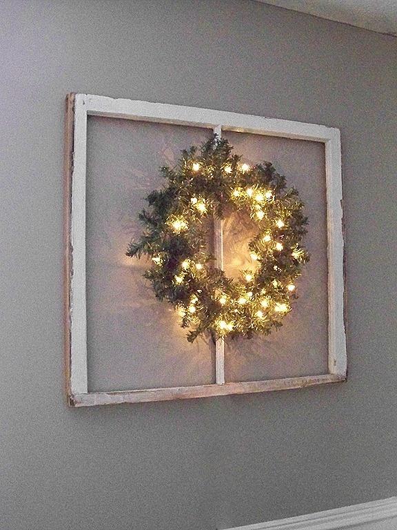 Simple idea....looks greatChristmas Wreaths, Frames Wreaths, Repurposing Windows, Crafts Gift Ideas, Windows Ideas, Christmasy Things, Christmas Holiday, Christmas Decor, Christmas Ideas