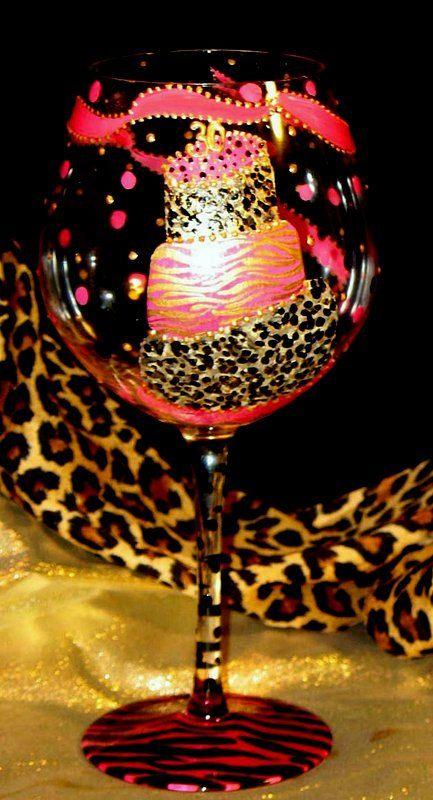 Hand Painted PINK Cheetah Birthday Cake Wine by THEGILDEDTOUCH