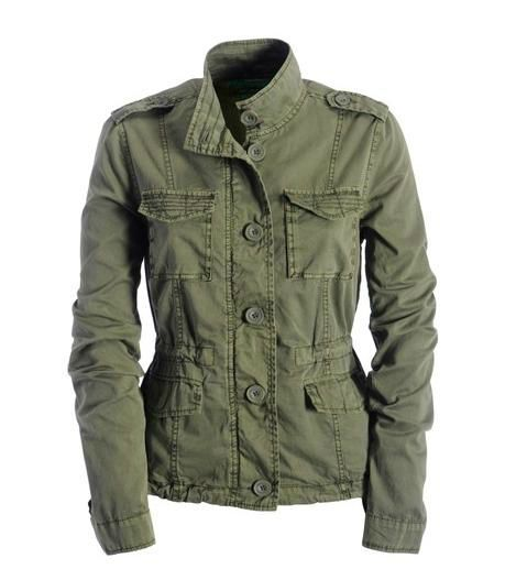 Military Jackets for Women. The military jacket for women is available in great cuts with stylish buttons that complement the trim and lining. Choose from chic blacks and navy blues or flaunt a fun camouflage print.