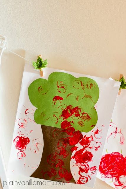 """Plain Vanilla Mom: An Apple a Day... Cork stamped apple tree and more. Take a peek at some of the projects we did over """"apple week"""" at our house. (all toddler approved)"""