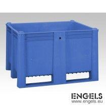Hygiene palletbox, 1200x1000x740 mm, 630 liter, met 2 sleden, blauw