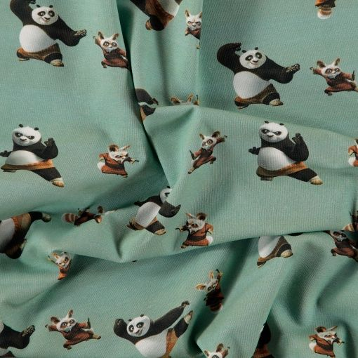 Stretch jersey with Kung fu panda - DreamWorks movie.