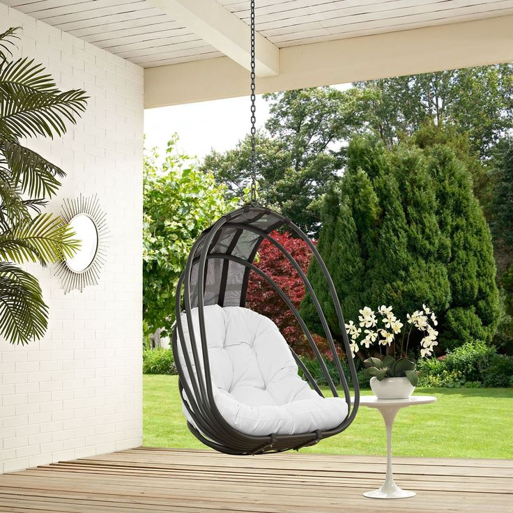 Modway Whisk Steel and Polyethylene Rattan Outdoor Patio Swing Chair With Sun Shade (Orange), Patio Furniture (Fabric) #SwingChair