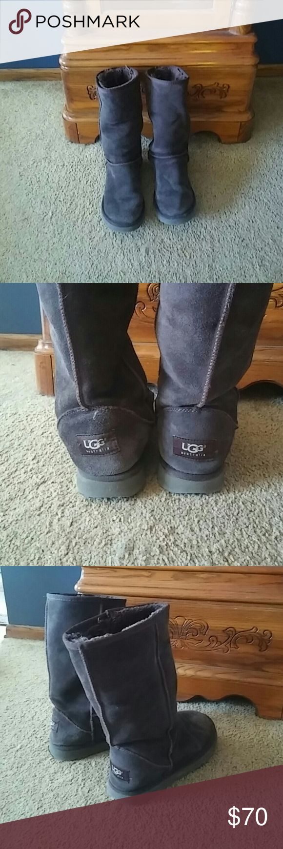 Brown, tall ugg boots size 7 Size 7 brown, tall ugg boots. Only worn a few times and are in great condition! No holes, scuffs or rips. They are a bit big on me so I never wear them. Open to reasonable offers!  ?No trades and no returns? UGG Shoes