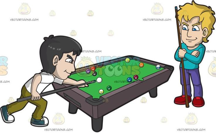Two Best Friends Playing Pool:  Two guy friends wearing casual clothes goes to a sports bar to play a game of pool to relax