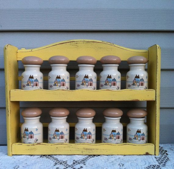Vintage Country Kitchen Spice Rack w/10 Spice Jars - Yellow Shelf on Etsy, $39.00