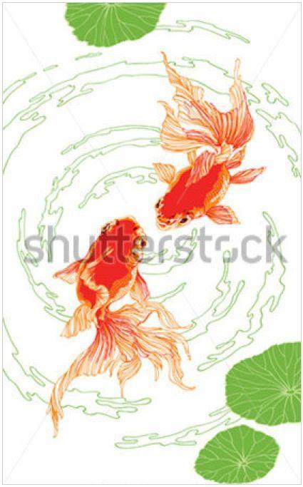 Golden fish by Mikhail Kovalev #illustration #fish #chinese #minimalistic #red #black #ink