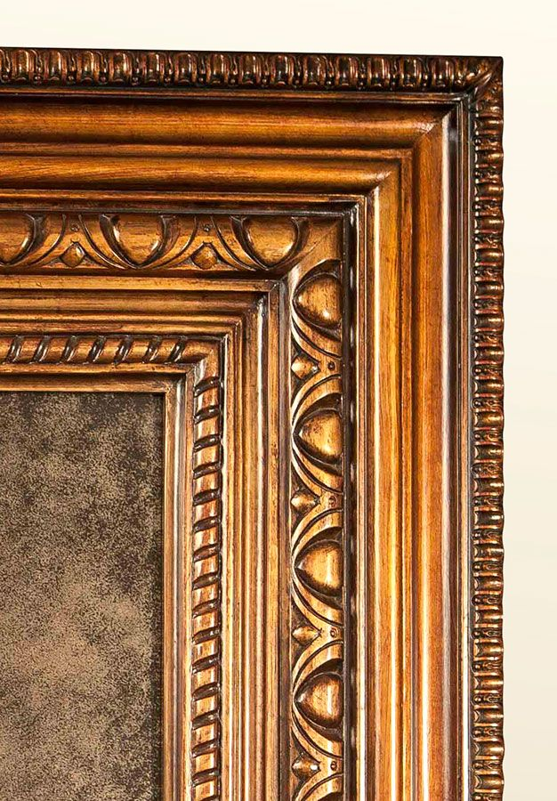 Hand-Carved Mahogany Frame & Antique Mirror (Finish w ...
