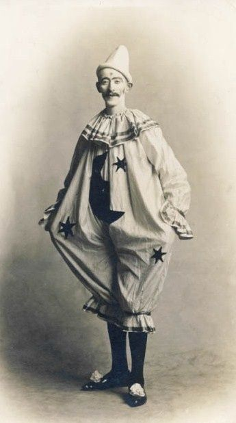 pierrot clown with stars and moon