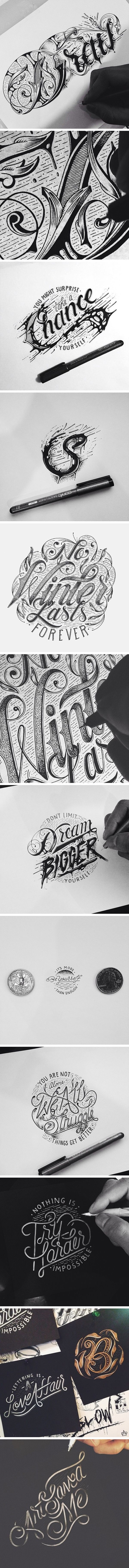 Hand Typography! I am currently trying to learn how to create unique typefaces in Adobe Illustrator. This is very inspiring.: