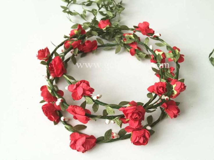 Kırmızı Çiçekli Gelin Tacı