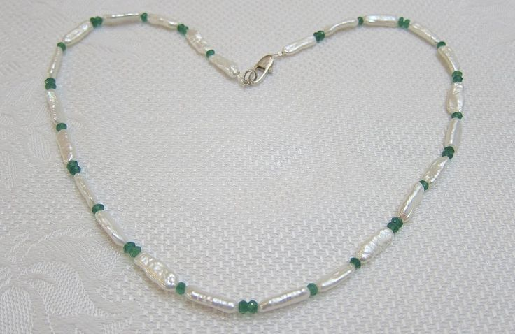 Freshwater Pearl and Faceted Emerald necklace with Silver Clasp   Barbara Flynn Jewellery