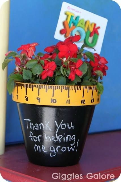 """""""Thank you for helping me grow!"""" Such a sweet gift that the boys could give to great teachers!  A very special preschool teacher deserves one!  Thanks Mrs. L. for helping C. grow!"""