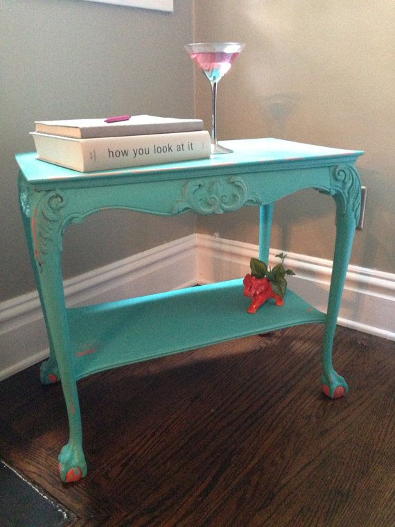Terrific Turquoise And Coral Side Table Made Of Solid Wood