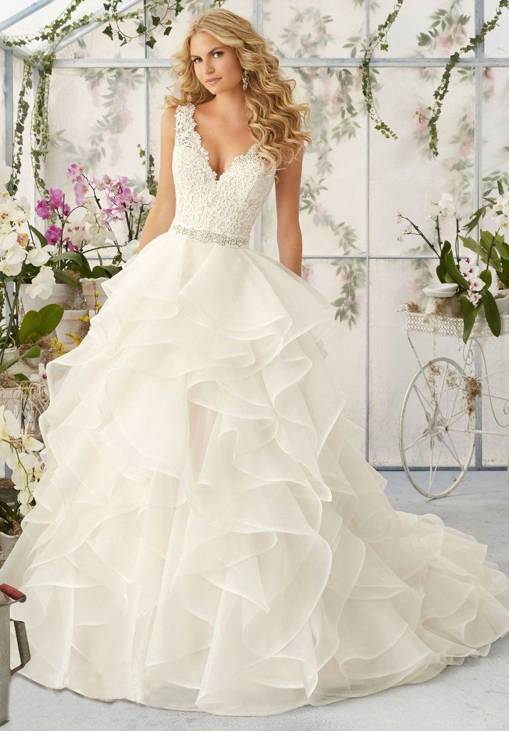 Tiered Organza Wedding Gown with Lace Appliqued V Neckline