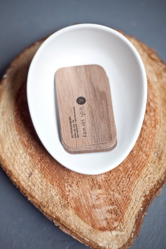 Wood letter pressed business card for Miss Leah Verwey - designed by Studio Olivine