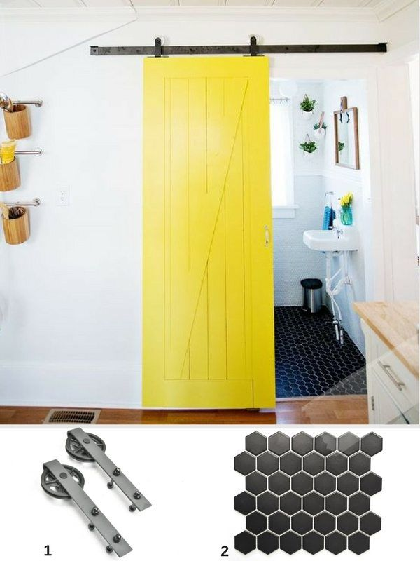 ide dco salle de bain avec une porte de grange coulissante jaune et du carrelage mosaque