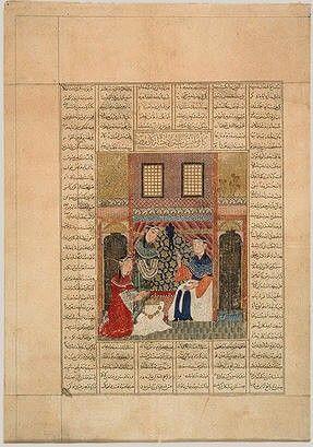 Mongol manuscript folio 1330s Tabriz. Mongol manuscript folio 1330s Tabriz Sindukht Becoming Aware of Rudaba's Actions Arthur M. Sackler Gallery Smithsonian Institution, Washington, D.C.