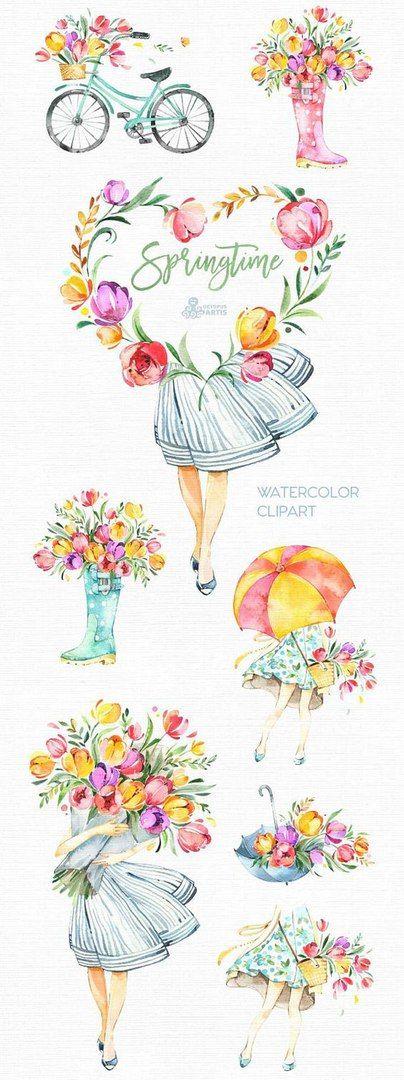 Скрапбукинг, рукоделие, Весенние иллюстрации