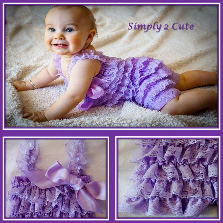 'RONJA' - So very cute! Lilac, ruffled lace romper with matching satin ribbon. Suitable for newborns to 1 yr olds.