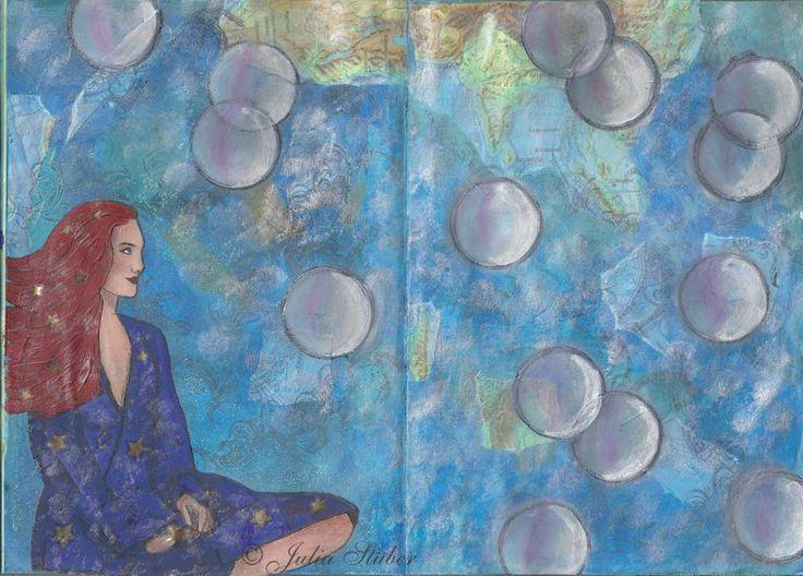 Die Sternenfrau fing eigentlich als ein weiteres Fernwehbild an mit Elementen aus einem alten Atlas.