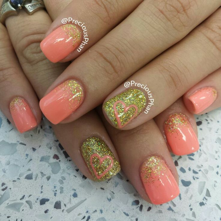 Coral and gold imbre nails, with a heart :)