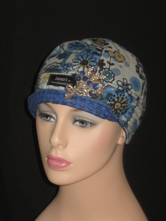 NO IT IS NOT ABOUT THE HAIR!!! Cancer Hat or Chemo Hair Loss Cap /Impressionist Blue by hedart, $35.00