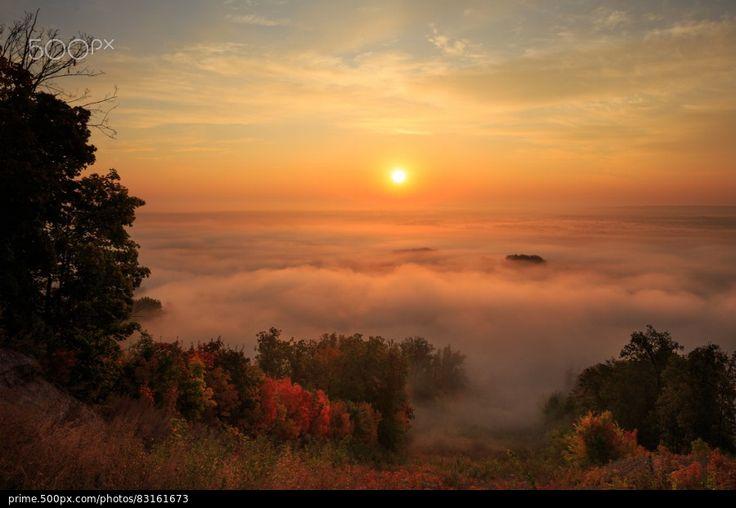 Morning Mist in Ufa - stock photo
