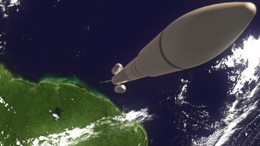 Artist's concept of AirBus's Ariane 6 launch vehicle, with the Adeline system at the base of the rocket