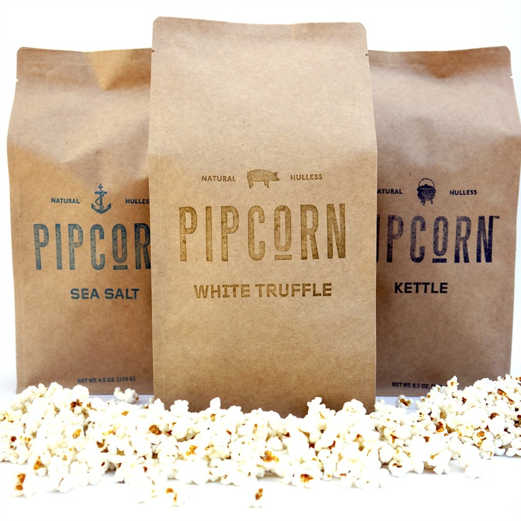 Popcorn is a special variety of corn that's much more delicate than ordinary kernels which is mimicked in the simple (but modern) packaging. #RetailPackaging