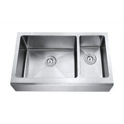 Farmhouse Apron Front Kitchen Sink. Smooth Flat Front Design. 70/30 Offset Double Bowl. 16 Gauge Stainless Steel. Brushed Satin Stainless Steel Finish. Can be Installed Undermount / Flush-mount / Above Countertop (max. 2 in)  http://www.emoderndecor.com/33-inch-stainless-steel-smooth-flat-front-farmhouse-apron-kitchen-sink-offset-double-bowl-15mm-radius-design.html#.UTX0H2MyXRg