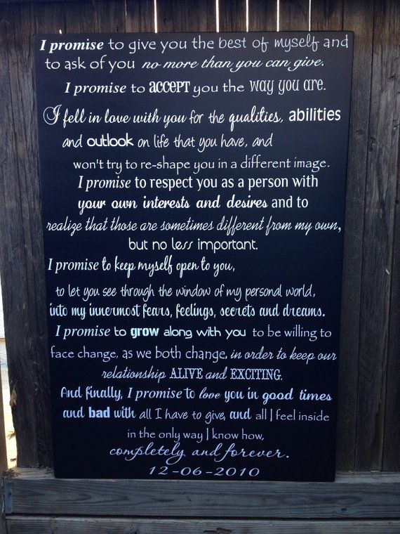 24x36 Wood Sign With Custom Wedding Vows When Ordering Please Put In