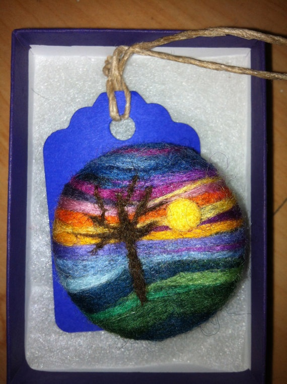 Needle Felted Broochwool painting by roanannie on Etsy, $35.00