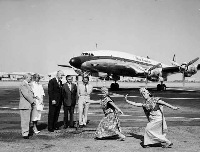 Lockheed aircraft delivering Electra to Thailand airlines 1957 IN BURBANK CA.